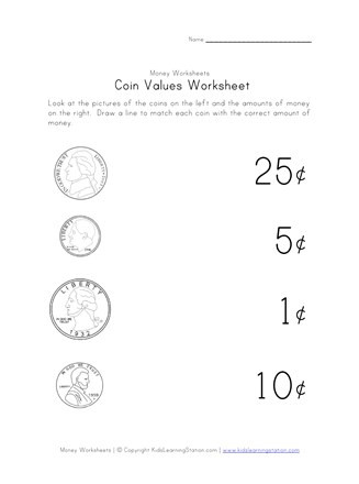 Values Of Coins Worksheet Coins Worksheet