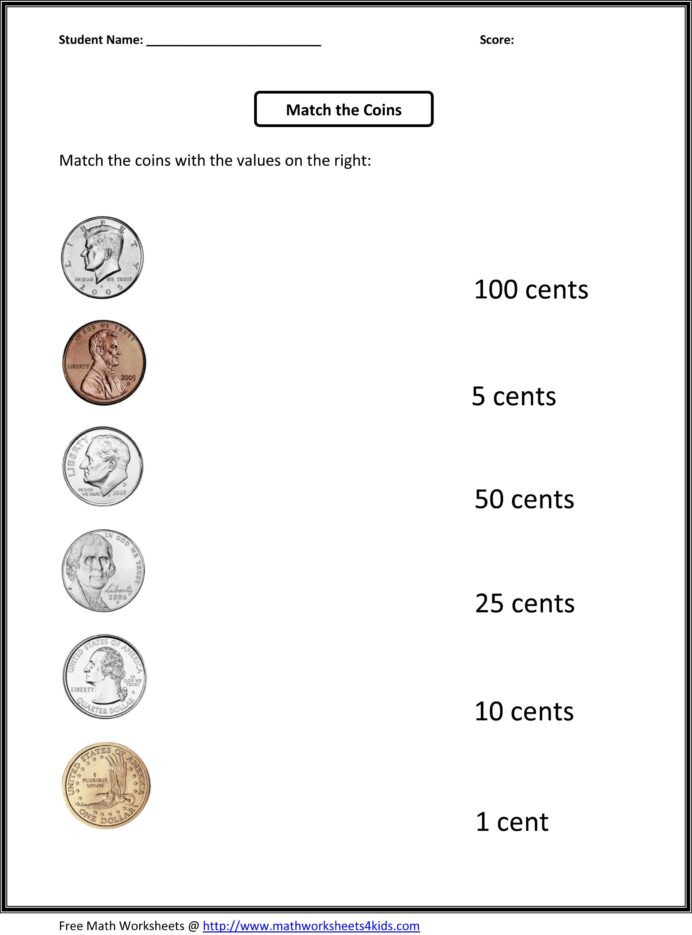 Values Of Coins Worksheet Free 1st Grade Worksheets Match the Coins and Its Values
