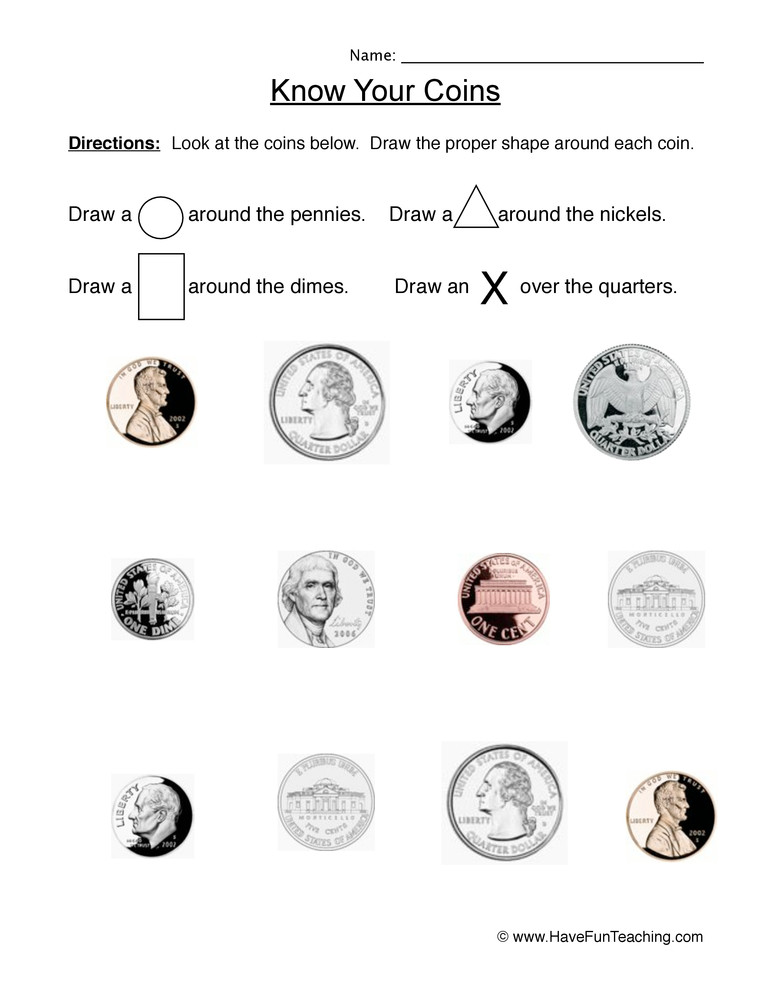 Values Of Coins Worksheet Identifying Coins Worksheet