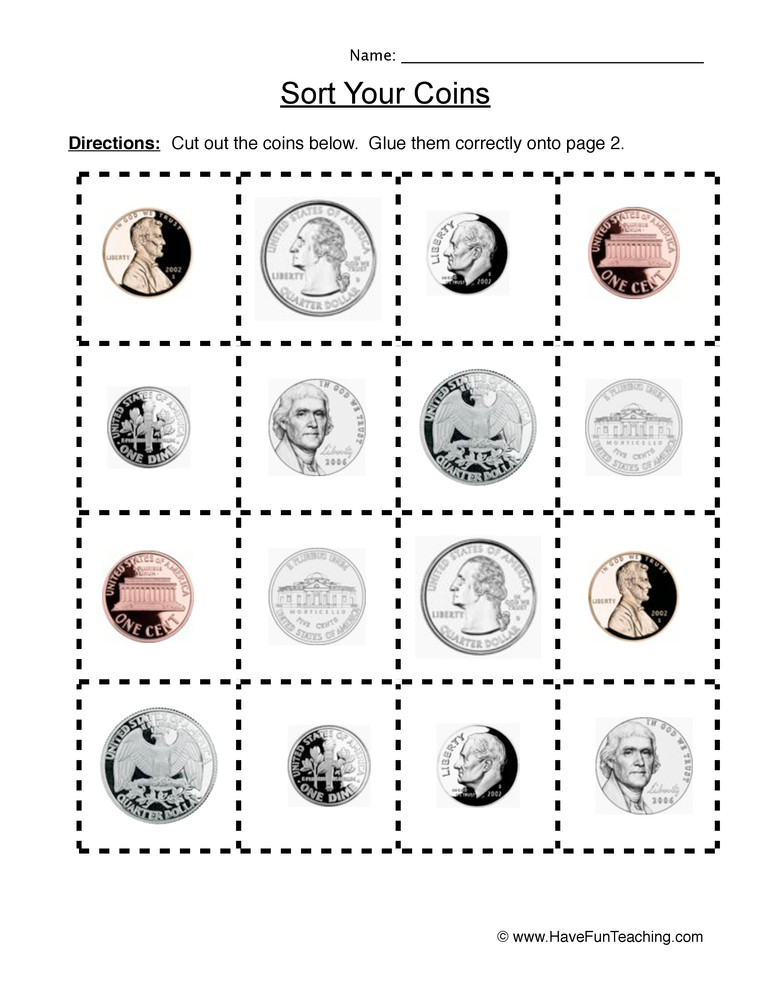 Values Of Coins Worksheet sorting Coins Worksheet