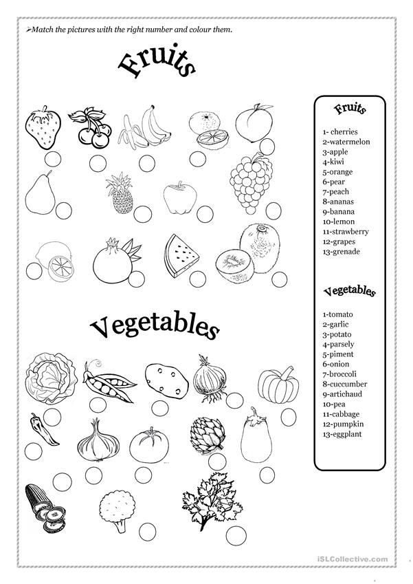 Vegetable Worksheets for Preschool Fruits and Ve Ables
