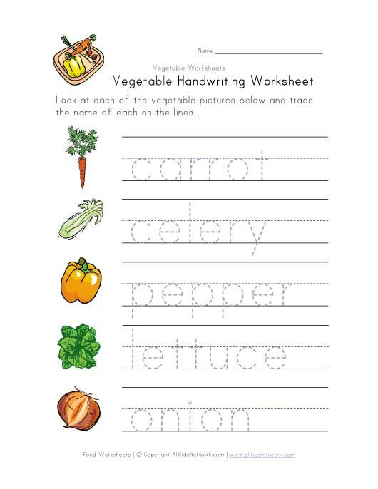 Vegetable Worksheets for Preschool Ve Able Handwriting Worksheet