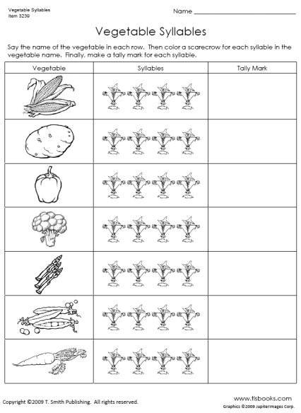 Vegetable Worksheets for Preschool Ve Able Syllables