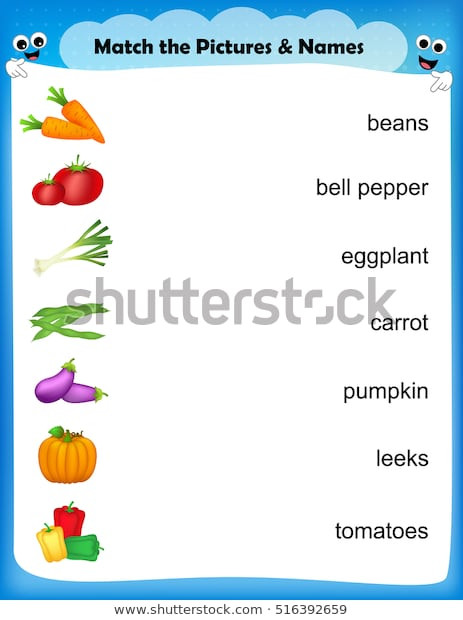 Vegetable Worksheets for Preschool Worksheet Match Ve Able their Names เวกเตอร์สต็อก