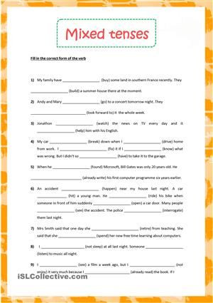 Verb Tense Worksheets Middle School Mixed Tenses