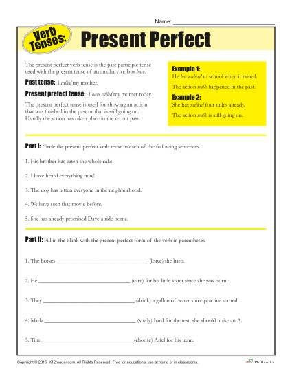 Verb Tense Worksheets Middle School Verb Tense Worksheets Present Perfect
