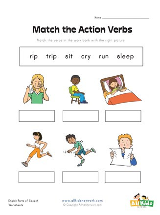"Verbs Worksheets for Middle School Action Word In Grammar لم يسبق له Ù…Ø ÙŠÙ"" الصور Tier3"