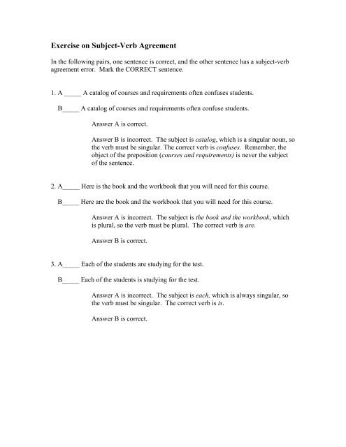 Verbs Worksheets for Middle School Exercise Subject Verb Agreement Errors with Answers