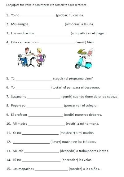 Verbs Worksheets for Middle School Stem Changing Verbs Free Printable Conjugation Worksheet for