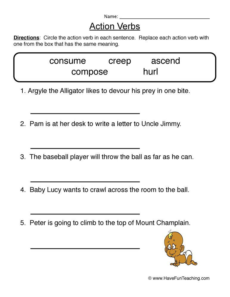 Verbs Worksheets for Middle School Verbs Worksheets Have Fun Teaching