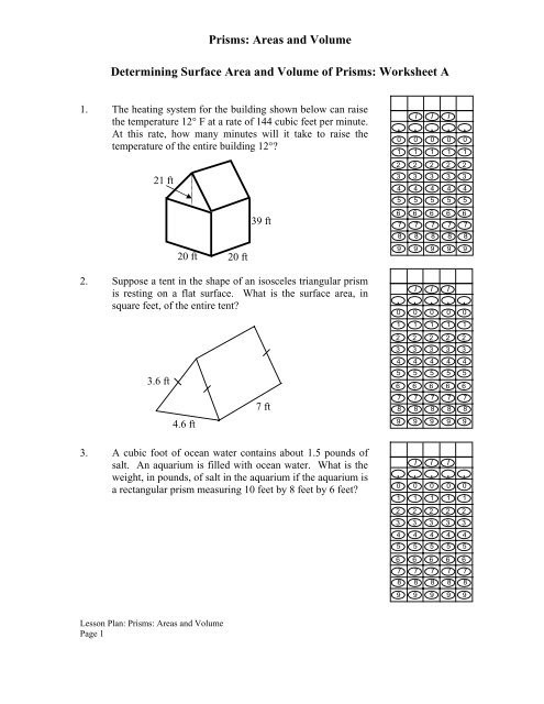 Volume Of Prism Worksheet Prisms areas and Volume Determining Surface area and