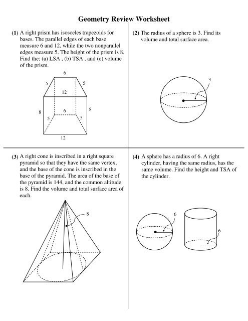 Volume Of Pyramids Worksheet Geometry Review Worksheet