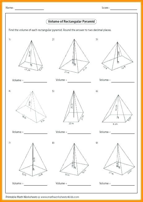 Volume Of Pyramids Worksheet Prisms and Pyramids Worksheet Promotiontablecovers