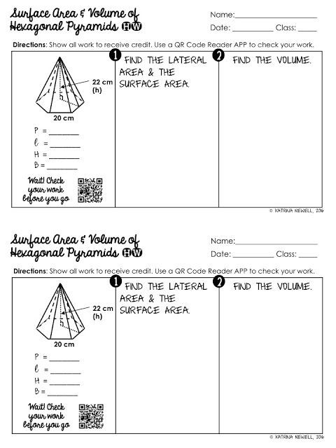Volume Of Pyramids Worksheet Surface area and Volume Of Pyramids Unit