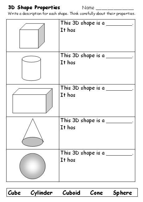 Volume Of Sphere Worksheet What Am I Naming 3d Shapes Support the Learning Of Shape
