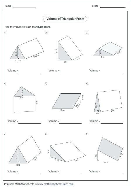 Volume Rectangular Prism Worksheet 20 Volumes Prisms Worksheet
