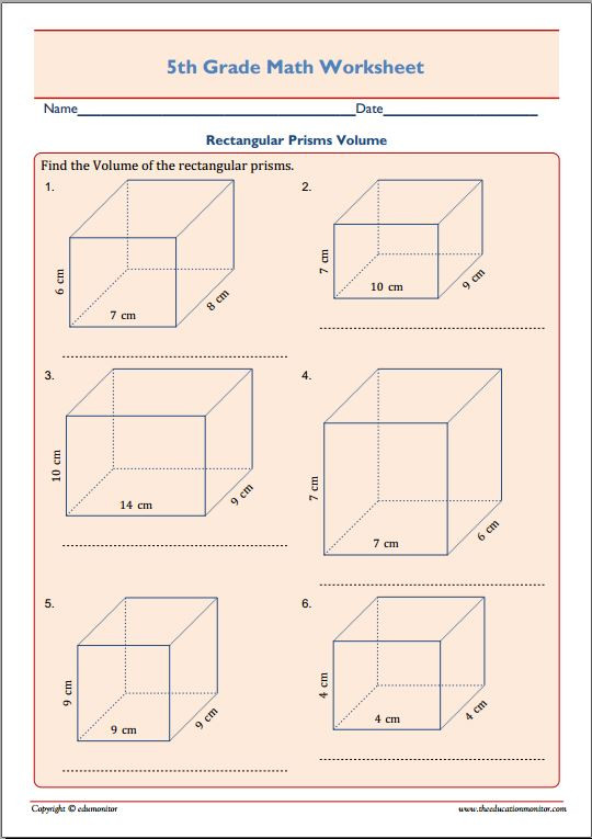 Volume Rectangular Prism Worksheet 5th Grade Math Rectangular Prisms Worksheet Edumonitor