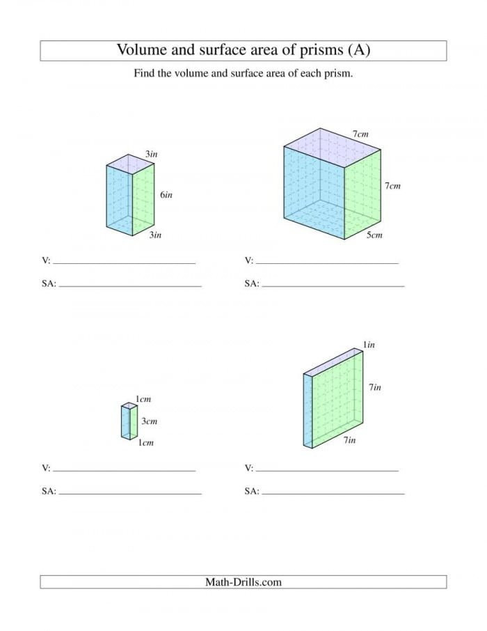 Volume Rectangular Prism Worksheet Base and Volume Worksheets