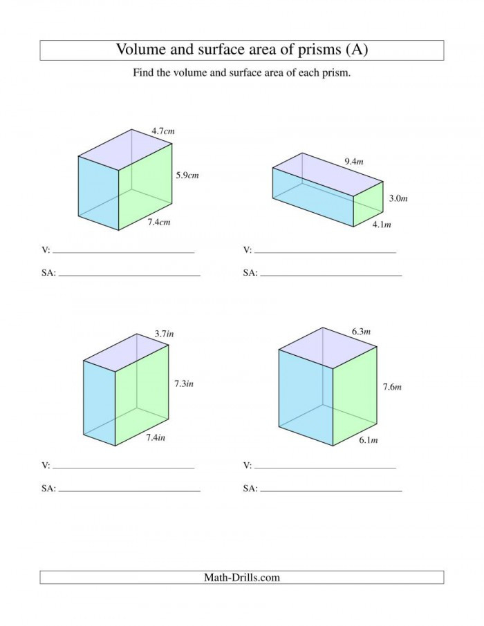 Volume Rectangular Prism Worksheet Find the Surface area Rectangular Prism Worksheets