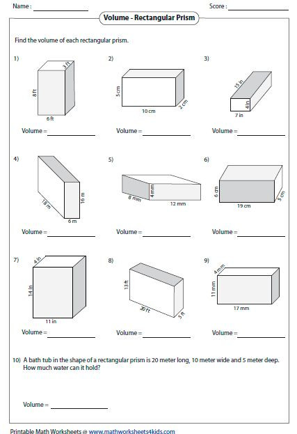 Volume Rectangular Prism Worksheet Pin On Fifth Grade Math