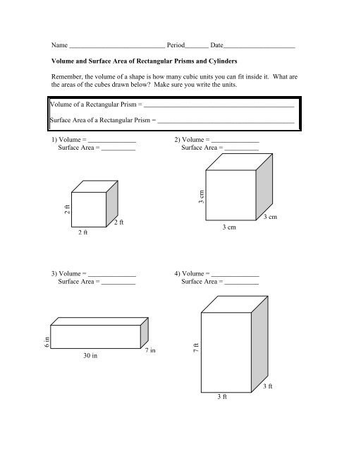Volume Rectangular Prism Worksheet Surface area and Volume Worksheet the Mcnabbs