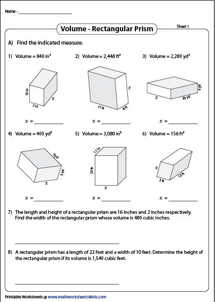 Volume Rectangular Prism Worksheet Volume Of A Rectangular Prism