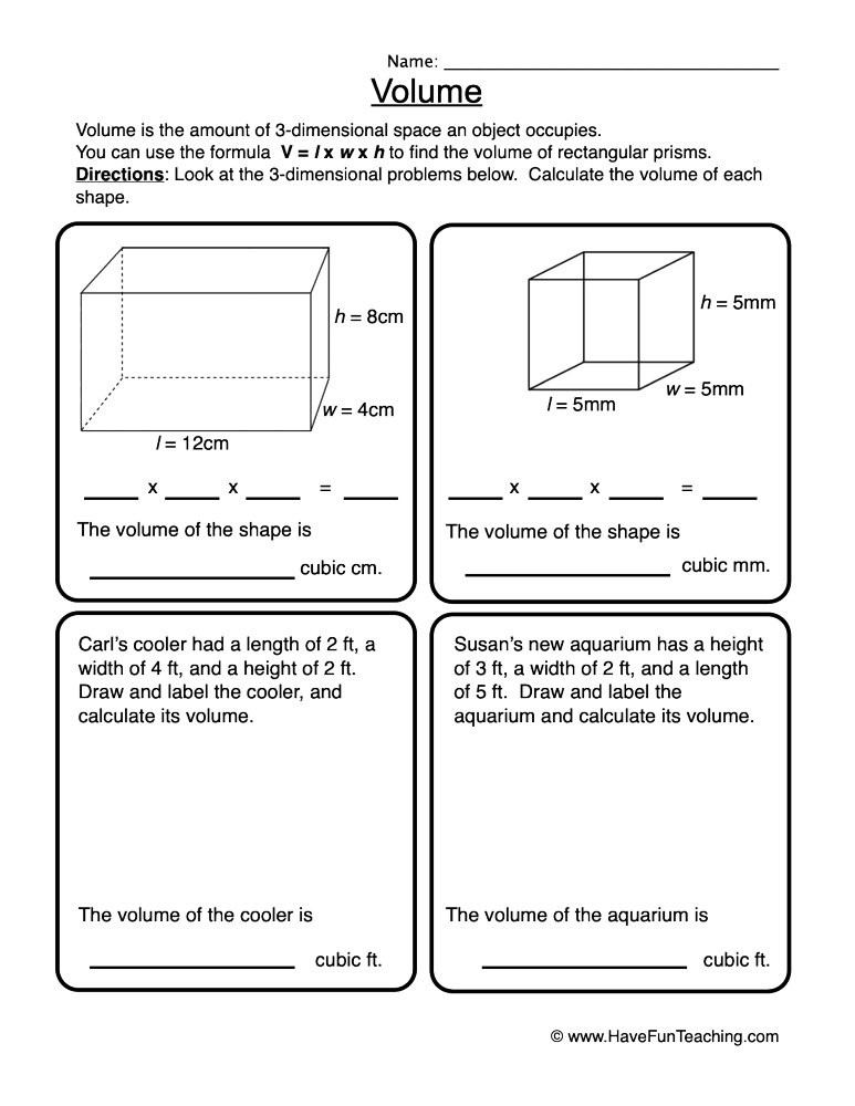 Volume Rectangular Prism Worksheet Volume Rectangular Prisms Worksheet