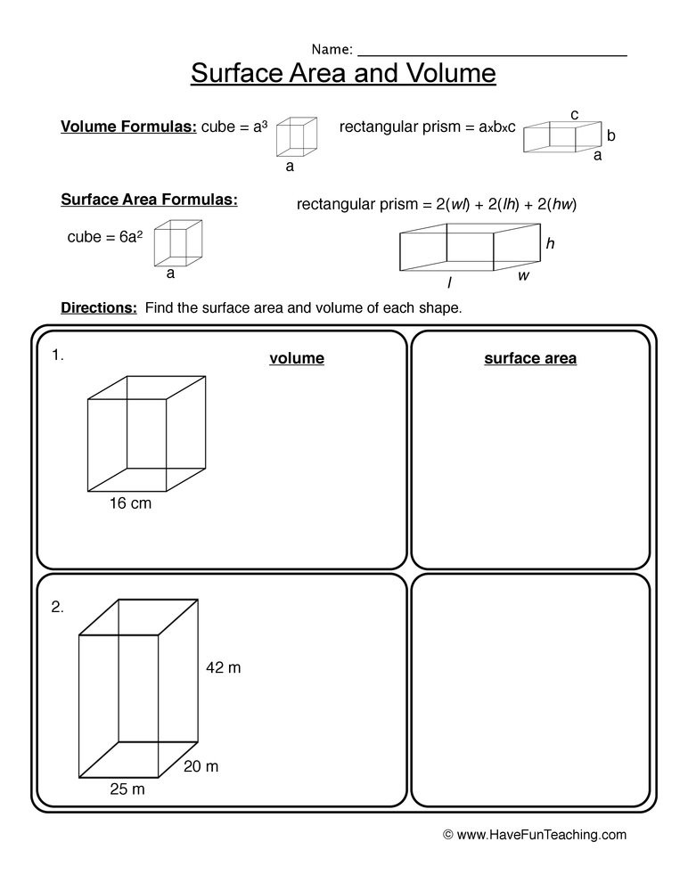 Volume Rectangular Prism Worksheet Volume Surface area Rectangular Prisms Worksheet