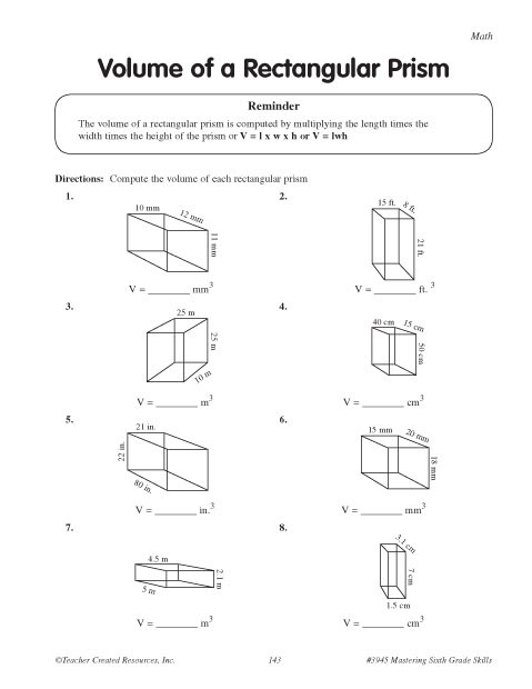 Volume Rectangular Prism Worksheet Volumes Of A Rectangular Prism