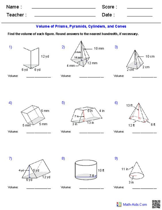 Volumes Of Prisms Worksheet 28 [ Volume A Pyramid Worksheet ]