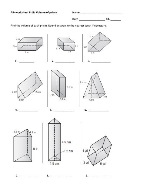 Volumes Of Prisms Worksheet A8 Worksheet 8 1b Volume Of Prisms Name Date Pd