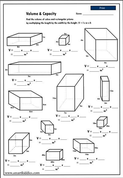 Volumes Of Prisms Worksheet Calculating the Volume Of Rectangular Prisms Mathematics