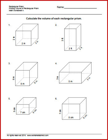Volumes Of Prisms Worksheet Finding the Volume Of A Rectangular Prism Worksheet لم يسبق