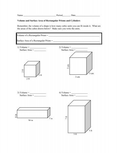 Volumes Of Prisms Worksheet Surface area and Volume Worksheet the Mcnabbs