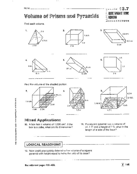 Volumes Of Prisms Worksheet Volume Of Prisms Pyramids Cylinders and Cones Worksheet