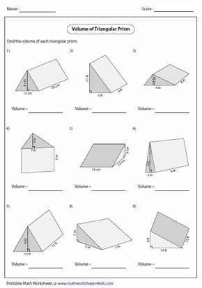 Volumes Of Prisms Worksheet Volume Of Triangular Prisms