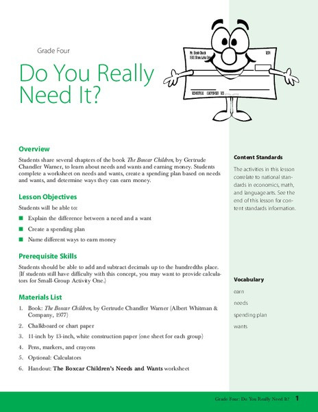 Wants and Needs Worksheet Do You Really Need It Lesson Plan for 4th Grade