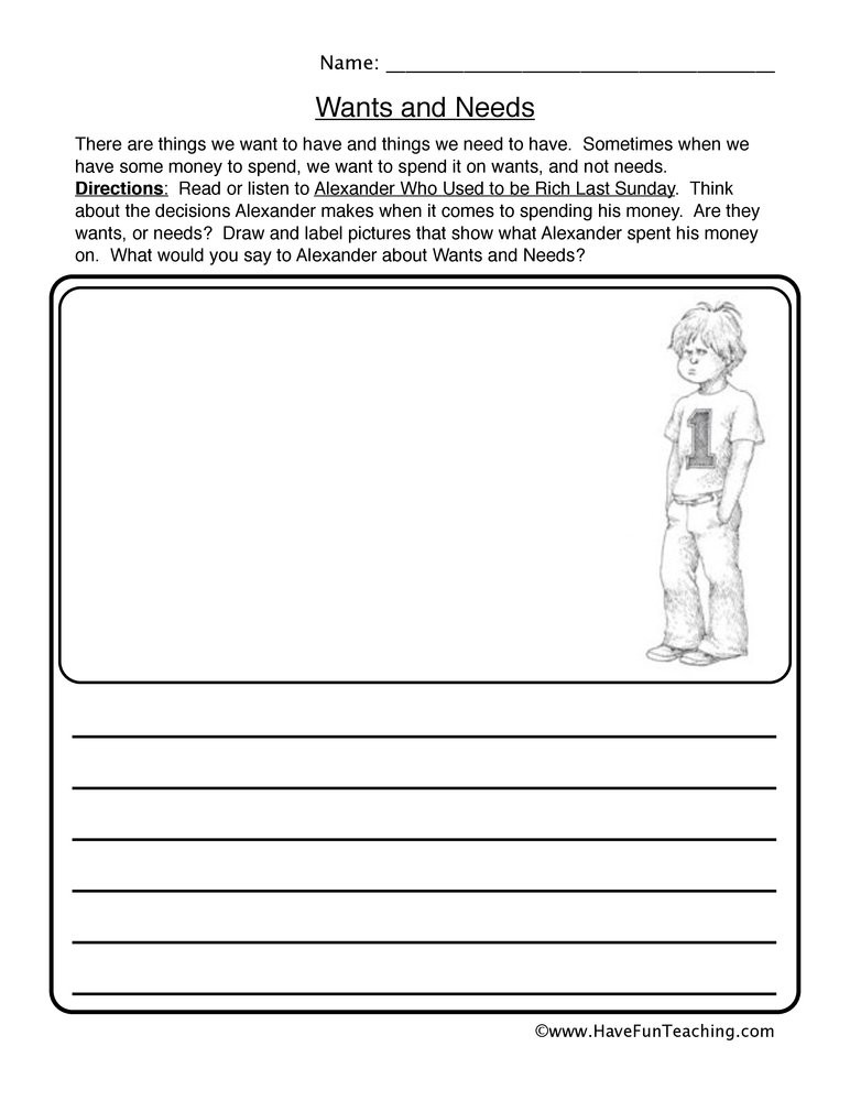 Wants and Needs Worksheet Wants Needs Reading Response Worksheet