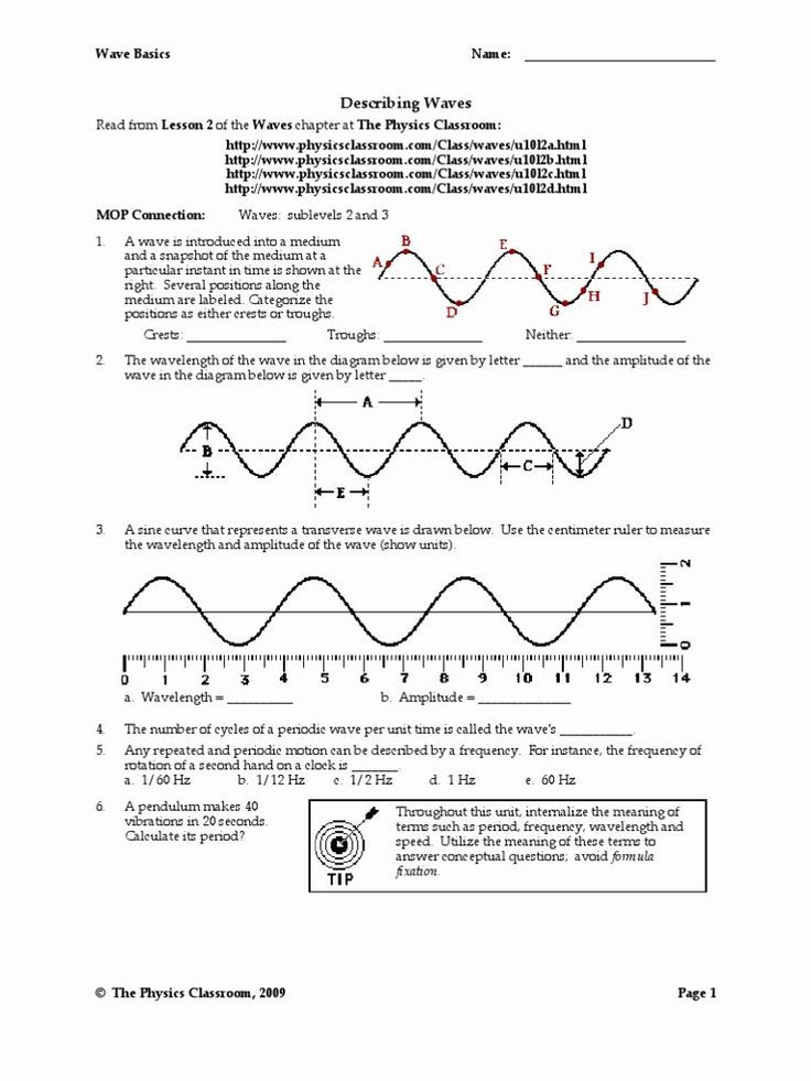 Wave Worksheet Answer Key 50 Wave Review Worksheet Answer Key In 2020