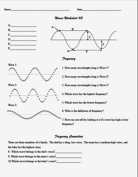 Wave Worksheet Answer Key Middle School Wave Worksheet