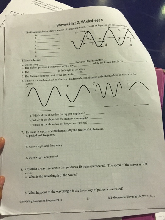 Wave Worksheet Answer Key solved Waves Unit 2 Worksheet 5 T the Illustration Belo