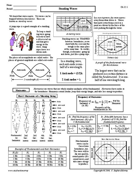 Wave Worksheet Answer Key Standing Waves Worksheet for 9th 12th Grade