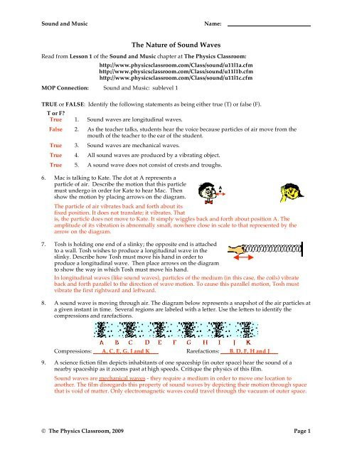 Wave Worksheet Answer Key the Nature Of sound Waves Ndsion