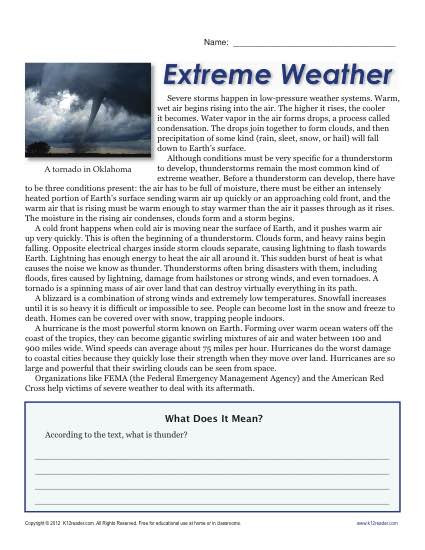 Weather Worksheets for Middle School Sixth Grade Reading Prehension Worksheet