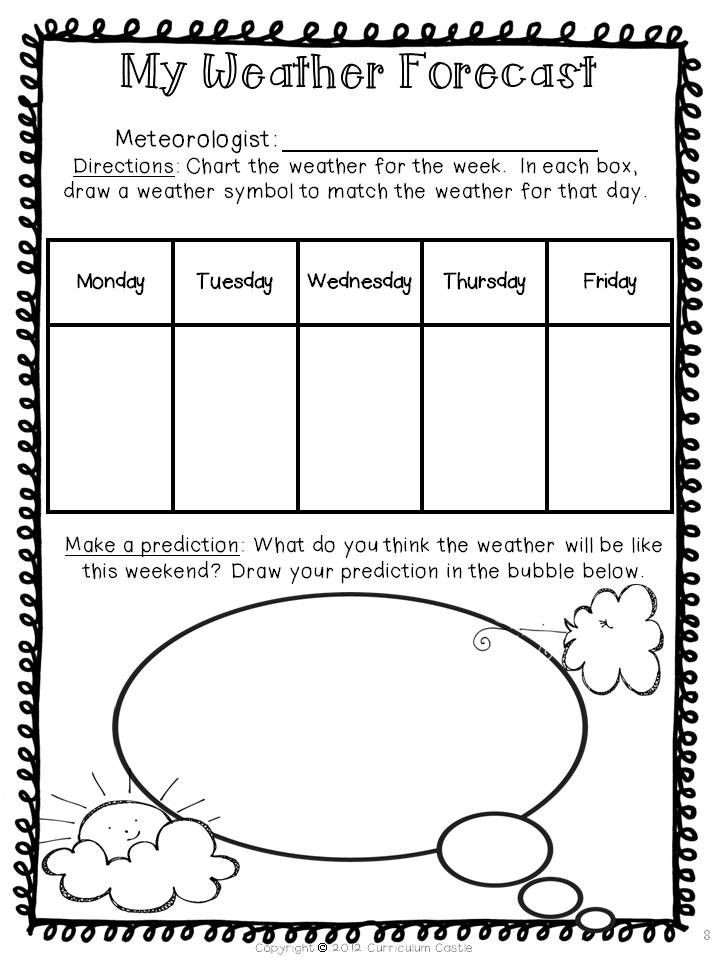 Weather Worksheets for Middle School Weather forecast Have Students Chart the Weather for the