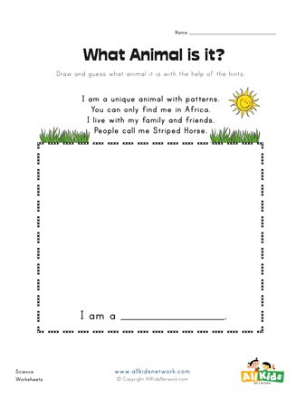 Who Am I Worksheet What Animal is It Zebra Worksheet