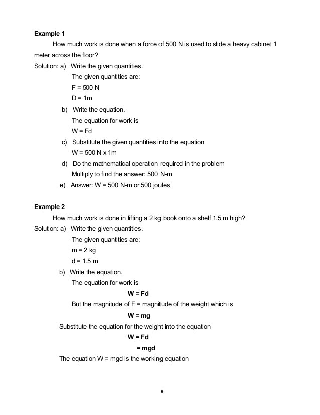 Work and Energy Worksheet Answers Module 11 Work Energy Power and Machines