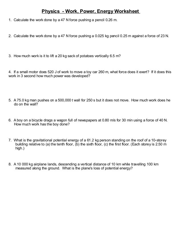 Work and Energy Worksheet Answers Worksheet More Simple Work and Energy Problems