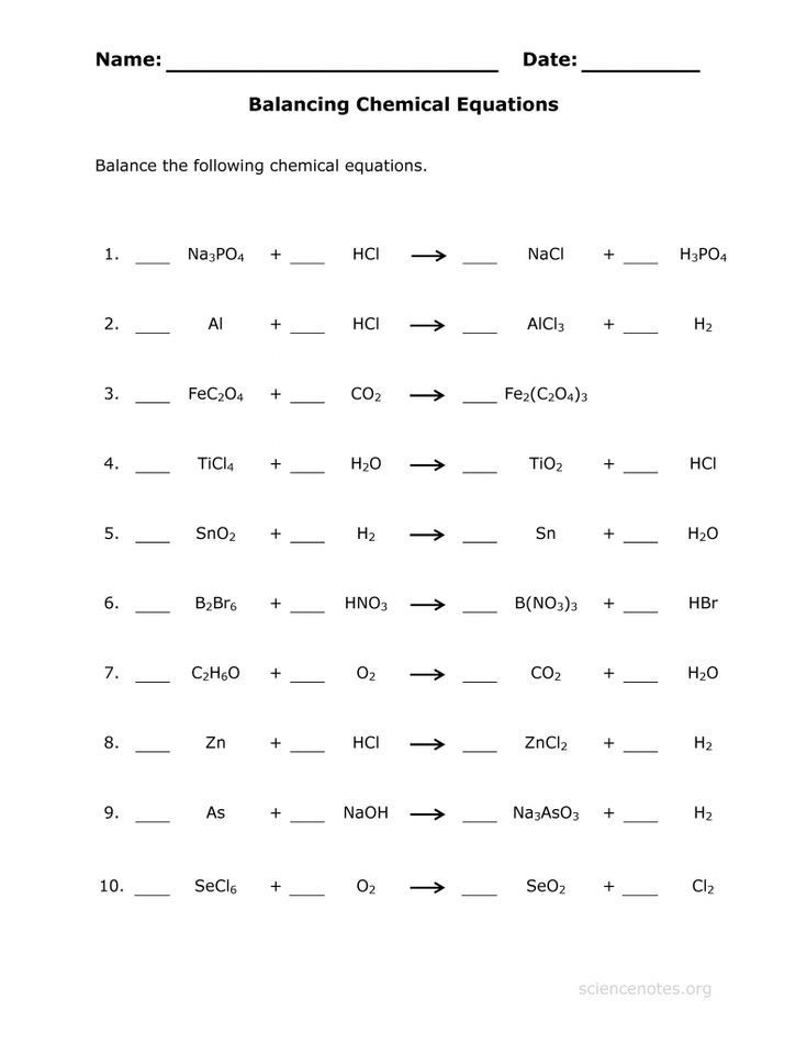 Worksheet Balancing Equations Answers Balance Chemical Equations Practice Sheet In 2020 with