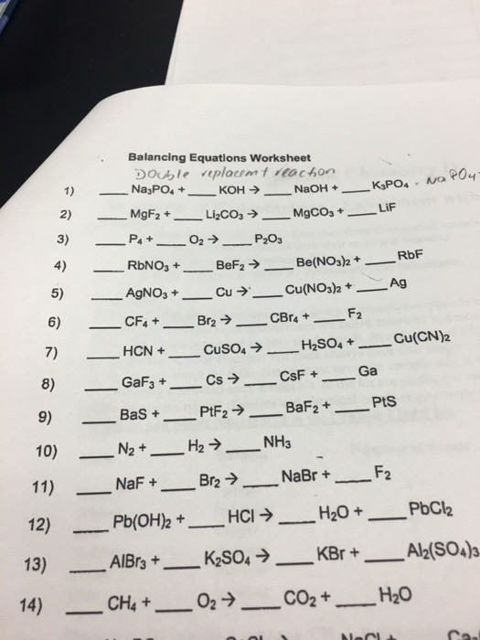 Worksheet Balancing Equations Answers solved Balancing Equations Worksheet Na 3po 4
